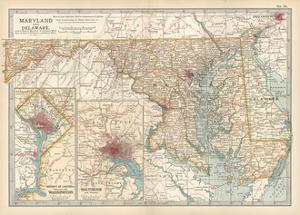 Map of Maryland and Delaware. United States. Inset Maps of District of Columbia by Encyclopaedia Britannica