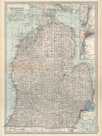 Map of Michigan, Southern Part