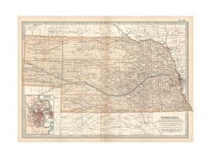 Map of Nebraska. United States. Inset Map of Omaha and Vicinity by Encyclopaedia Britannica