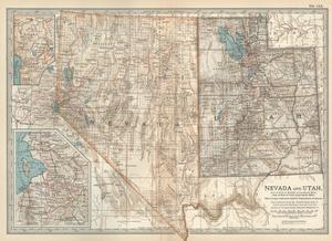 Map of Nevada and Utah. United States. Inset Map of Salt Lake City and Vicinity by Encyclopaedia Britannica
