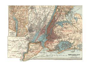 Map of New York City (C. 1900), Maps by Encyclopaedia Britannica