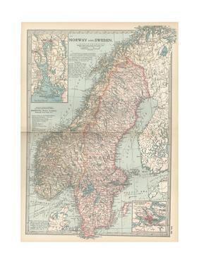Map of Norway and Sweden. Inset of Kristianiafjord and Vicinity, and Stockholm and Vicinity by Encyclopaedia Britannica