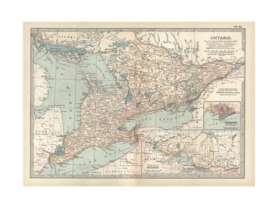 Map of Ontario, Canada. Insets of Toronto and Western Part of Ontario