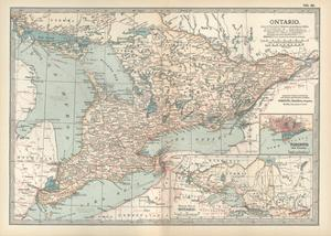 Map of Ontario, Canada. Insets of Toronto and Western Part of Ontario by Encyclopaedia Britannica