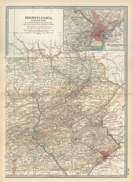 Map of Pennsylvania, Eastern Part. United States. Inset Map of Philadelphia and Vicinity by Encyclopaedia Britannica