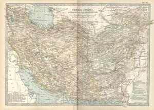 Map of Persia (Iran), Afghanistan and Baluchistan by Encyclopaedia Britannica