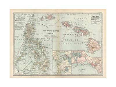 Map of Philippine Islands and Hawaii. Insets of Manila and Vicinity and Honolulu and Pearl Harbor