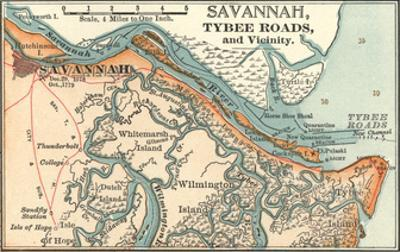 Map of Savannah (C. 1900), Maps by Encyclopaedia Britannica