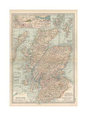 Map of Scotland. Insets of the Shetland Islands and the Territory Between Glasgow and Edinburgh by Encyclopaedia Britannica