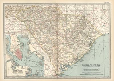 Map of South Carolina. United States. Inset Map of Charleston, Harbor and Vicinity
