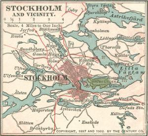 Map of Stockholm (C. 1900), Maps by Encyclopaedia Britannica