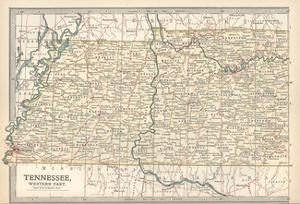 Map of Tennessee, Western Part. United States. Inset Map of Chattanooga by Encyclopaedia Britannica