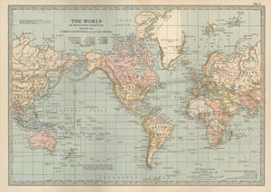 Map of the World on Mercator's Projection, Showing the Chief Countries and their Colonies by Encyclopaedia Britannica