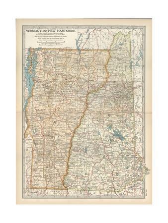 Maps Of New Hampshire Posters At AllPosterscom - Map of vermont and new hampshire