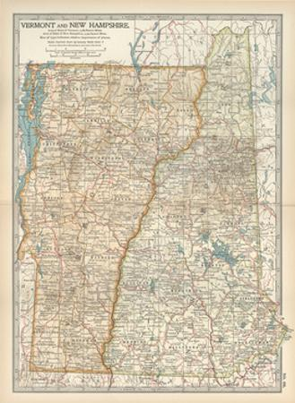 Map of Vermont and New Hampshire, United States by Encyclopaedia Britannica