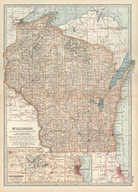 Map of Wisconsin. United States. Inset Map of Milwaukee and the Waukesha Lake Region by Encyclopaedia Britannica