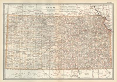 Plate 105. Map of Kansas. United States