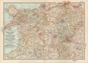 Plate 12. Map of England and Wales by Encyclopaedia Britannica