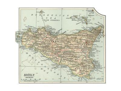 Plate 32. Inset Map of Sicily (Sicilia). Italy