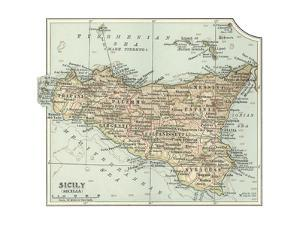 Plate 32. Inset Map of Sicily (Sicilia). Italy by Encyclopaedia Britannica