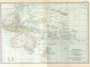 Plate 49. Map of Oceanica (Oceania). Australia by Encyclopaedia Britannica