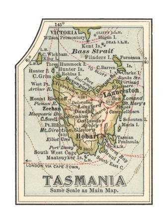 Plate 50. Inset Map of Tasmania. Australia by Encyclopaedia Britannica