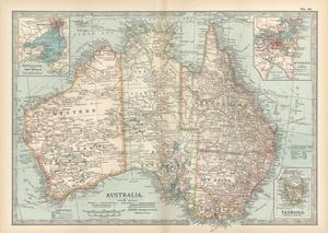 Plate 50. Map of Australia. Insets of Melbourne and Port Phillip by Encyclopaedia Britannica