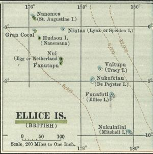 Plate 52. Inset Map of Ellice Islands (British) by Encyclopaedia Britannica