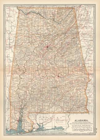 Plate 84. Map of Alabama. United States