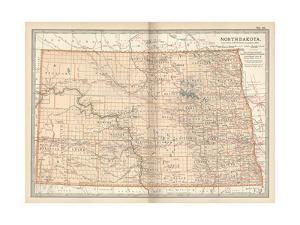Plate 99. Map of North Dakota. United States by Encyclopaedia Britannica