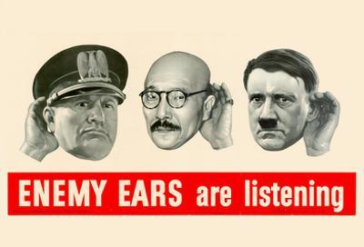 Enemy Ears Are Listening WWII War Propaganda Art Print Poster