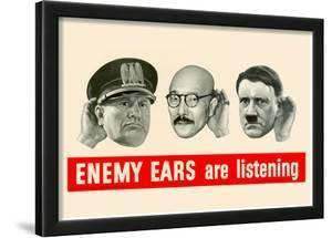 Enemy Ears Are Listening WWII War Propaganda Art Print Poster