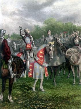 England's Henry V Among His Troops at Agincourt During Hundred Years War