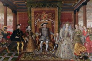An Allegory of the Tudor Succession: the Family of Henry Viii, C.1589-95 (Oil on Panel) by English
