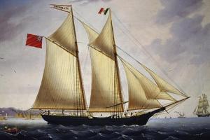 English Barquentine Sea Breeze Leaving Port of Livorno, 1864