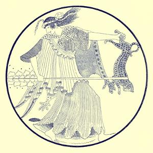 Maenad, Illustration from 'Greek Vase Paintings' by J. E. Harrison and D. S. Maccoll Published 1894 by English