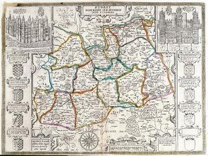 Map of Surrey, Described and Divided into Hundreds (Engraving) by English
