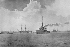 A Century Between: The Dreadnought Steaming Past the Victory, Illustration from 'The Graphic',… by English Photographer