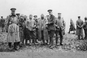 'A Friendly Chat with the Enemy', the Christmas Day Truce of 1914 by English Photographer