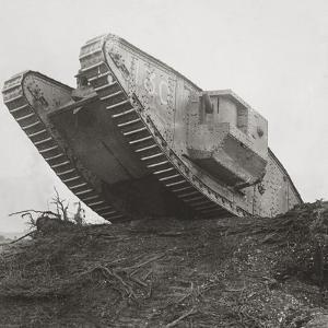 A Tank Leads the Infantry into Action and Breaks Down the Wire Entanglements by English Photographer