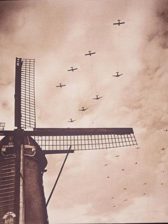 Allied Aircraft Tow Gliders Carrying Airborne Troops over the Netherlands, Battle of Arnhem, 1944 by English Photographer