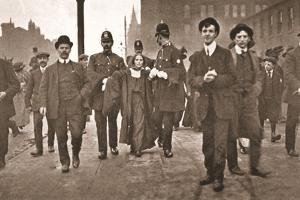 Arrest of Miss Dora Marsden Outside the Victoria University of Manchester, 4th October 1909 by English Photographer
