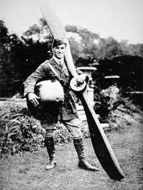 British Air Ace Albert Ball Holding Trophies from His 43rd Victory, c.1917 by English Photographer