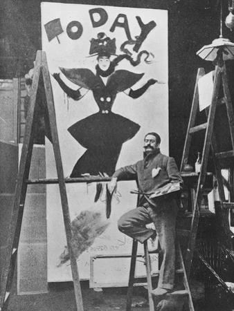 Dudley Hardy Painting a Poster for the Magazine Journal 'Today', C.1890S by English Photographer
