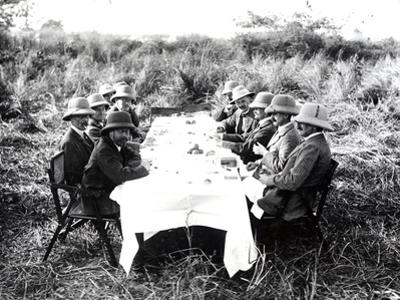 King George V Having Lunch in the Chitwan Valley During a Tiger Shoot, 1911 by English Photographer