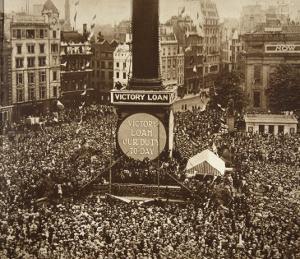 New Year's Eve, Trafalgar Square, 1919 by English Photographer