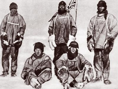 Scott, Wilson, Oates, Bowers and Evans at the South Pole, 18th January 1912 by English Photographer