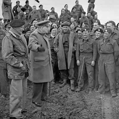 Sir Winston Churchill and Field Marshall Bernard Montgomery Visiting Men of the 79th Armoured…
