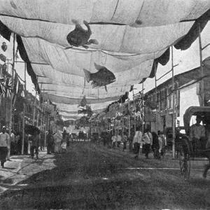 The Decorations in the Main Street, Singapore, Illustration from 'The King', May 25th 1901 by English Photographer