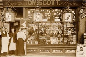 Tom Scott's Hairdresser and Tobacconist, Leytonstone, London by English Photographer